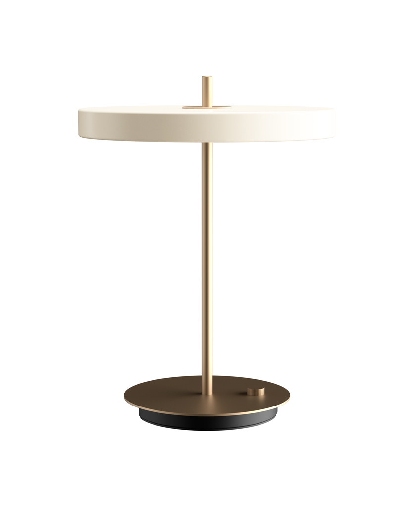 Umage asteria pearl white and gold table lamp on white background