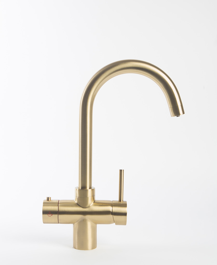 Gold Monroe hot water tap on white background
