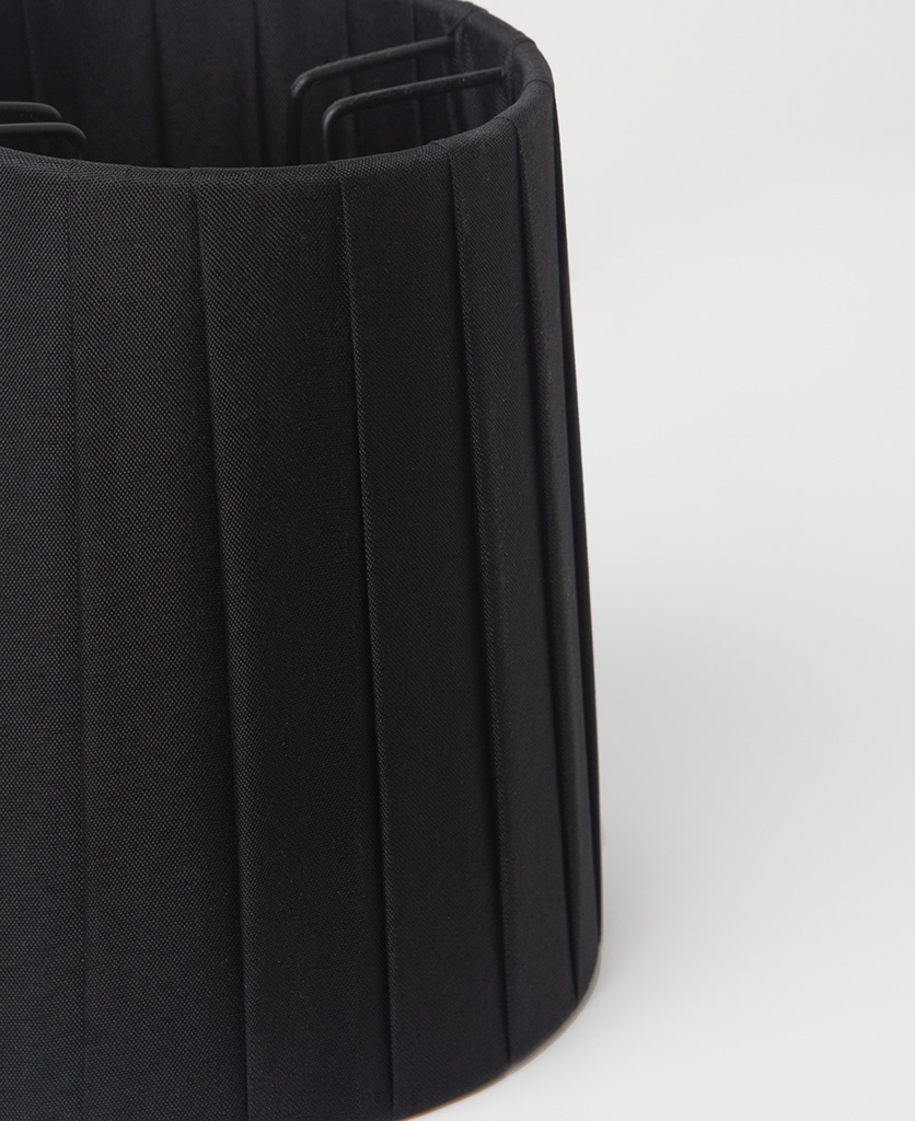 closeup of black lamp shade against white background