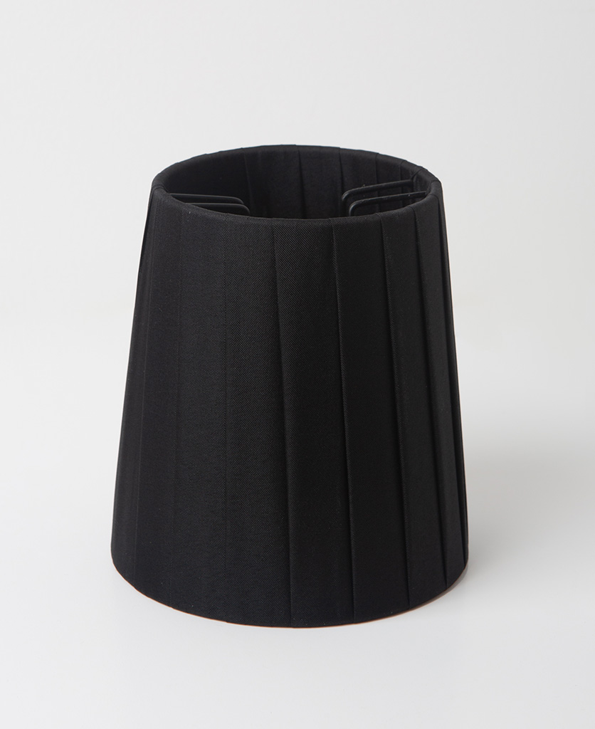 black lamp shade against white background