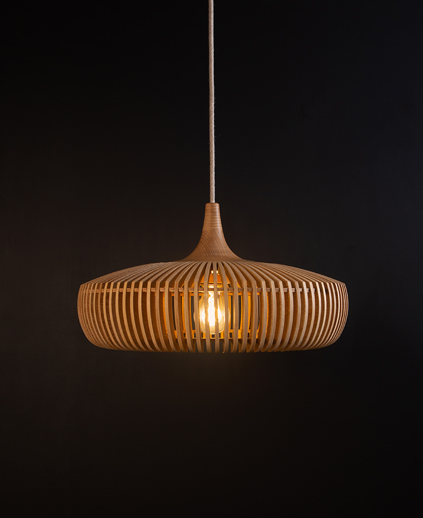 Umage clava dine wooden slatted pendant lampshade against black background