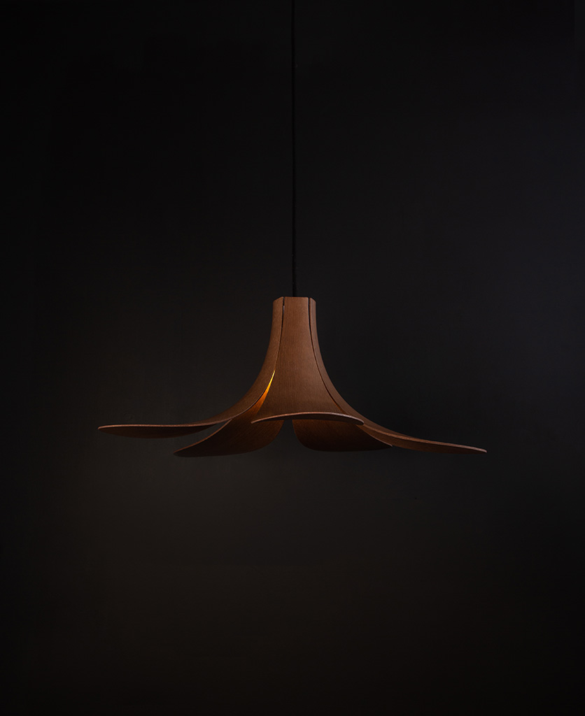 umage jazz wooden lampshade with black cord on black background