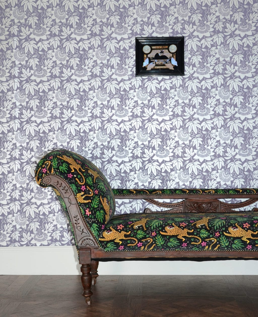monkey puzzle tree lilac wallpaper with silver floral design