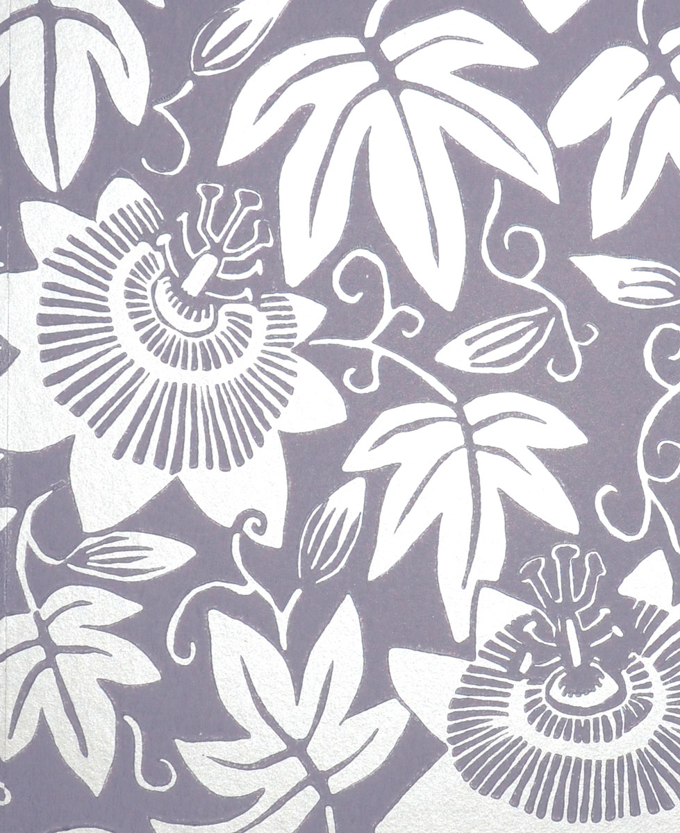 lilac wallpaper with silver passion flowers