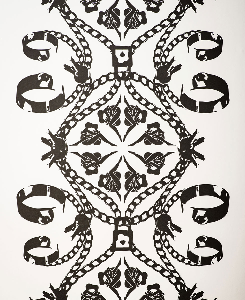 maitrise wallpaper white paper with black design