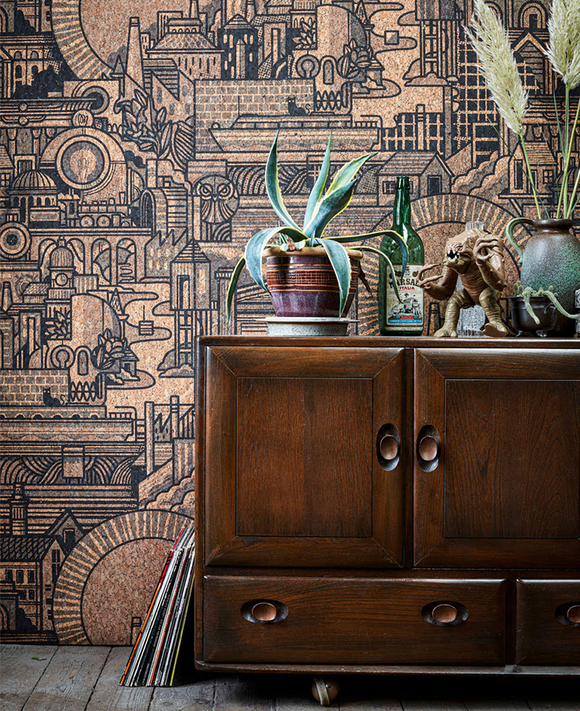 hit the north cork wallpaper lifestyle shot with dark wood cupboard