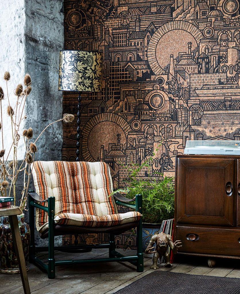 hit the north cork wallpaper lifestyle shot with dark wood cupboard and chair