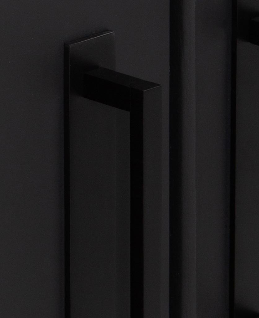 close up of black metal handles on black cupboard