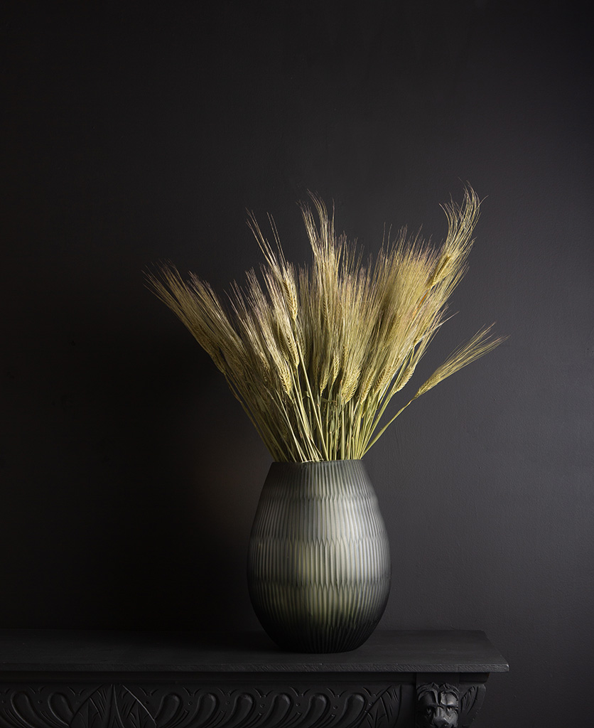 tall glass vase with preserved barley bouquet against black background