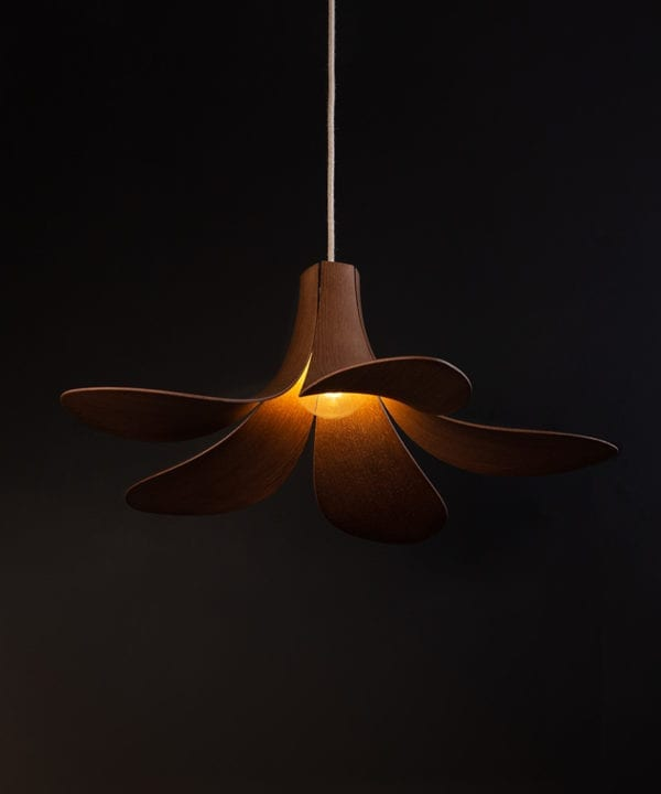 umage jazz dark oak wooden lampshade with linen fabric cable against black background