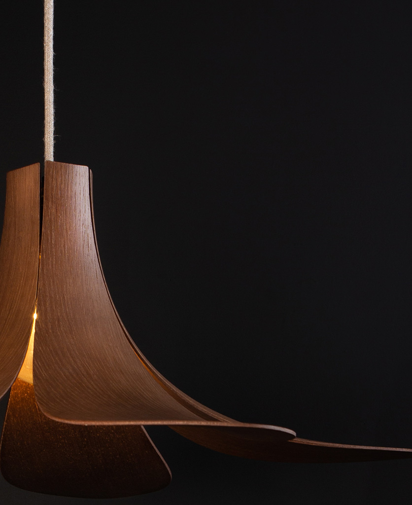 umage jazz wooden lampshade close up against black background