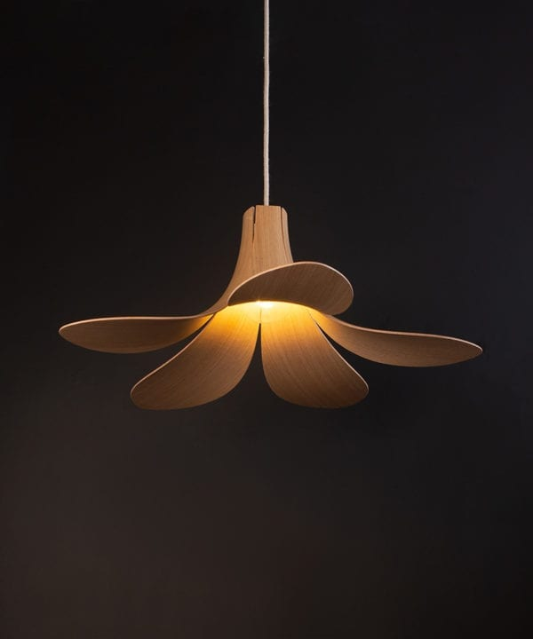 Umage Jazz wooden ceiling light light oak against black background