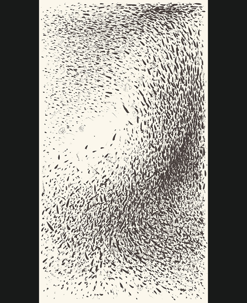 Passerine I superwide panel black and white abstract wallpaper