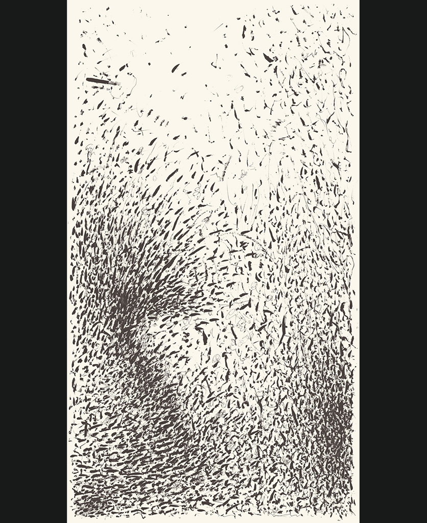Passerine II superwide panel black and white abstract wallpaper