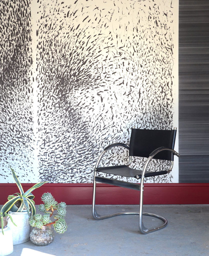 Disorder in Stasis Triptych Wall Paper, Black and White Abstract Illustration with Grey Striped Panel