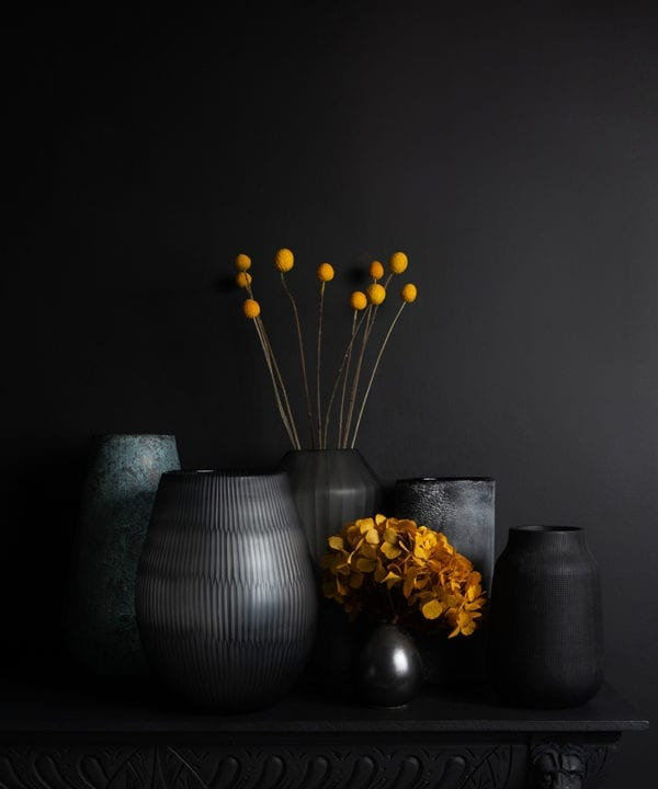 range of flower vases with preserved stems on a black background