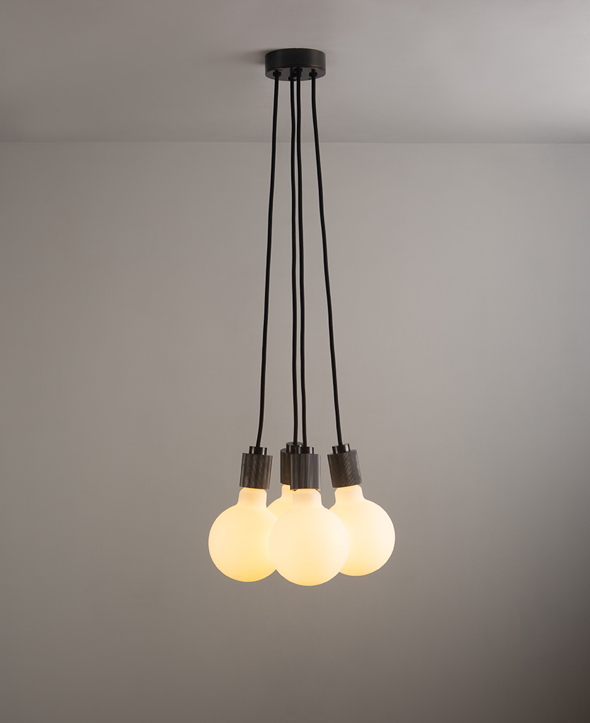 henriette antique black pendant light on grey ceiling and wall