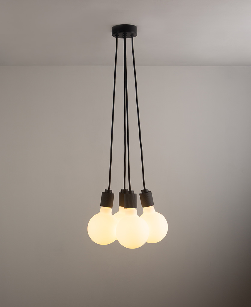 henriette black pendant light on grey ceiling and wall
