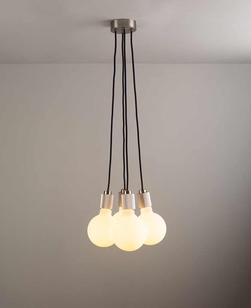 henriette silver pendant light on grey ceiling and wall