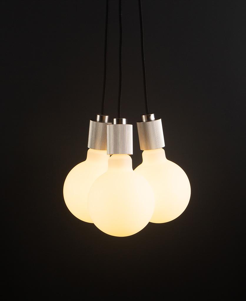 lutetia triple silver pendant lighting on black background