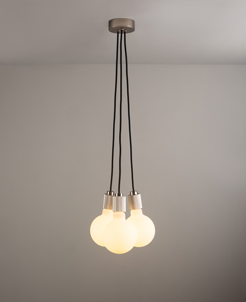 lutetia silver triple pendant lighting on grey ceiling and wall