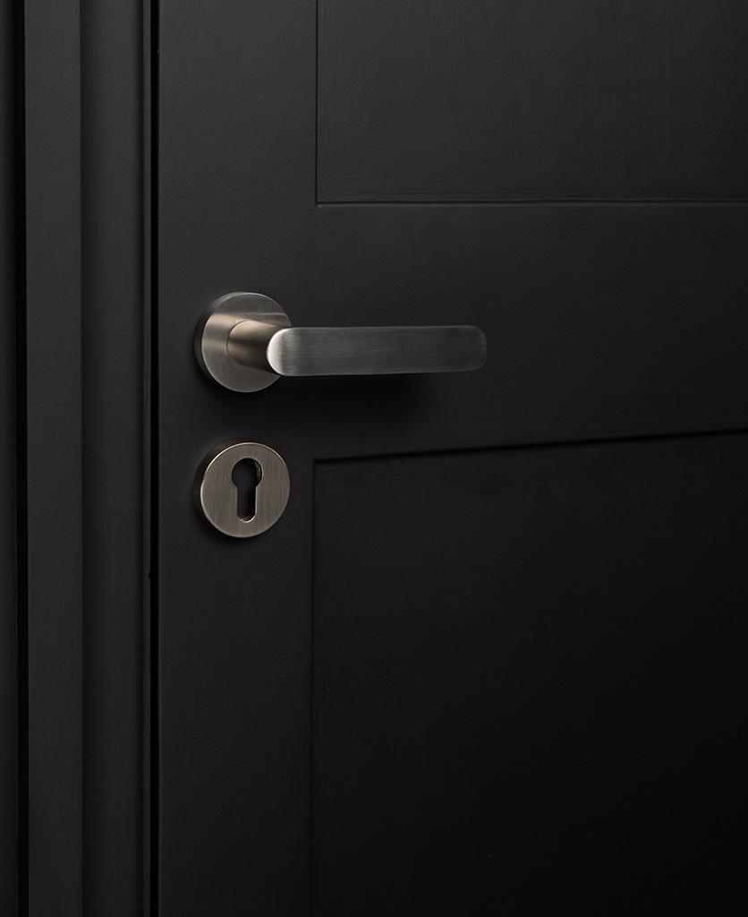 silver interior door handle with escutcheon on black door
