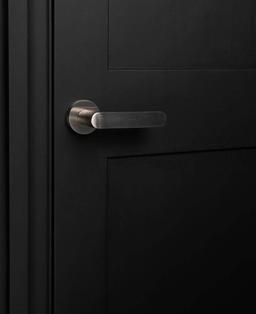Silver interior door handle on black door