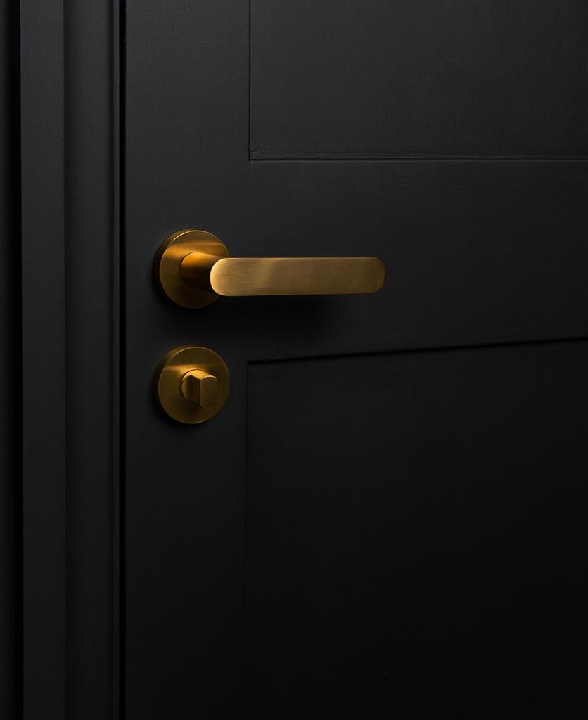 gold interior door handle with thumb lock on black door