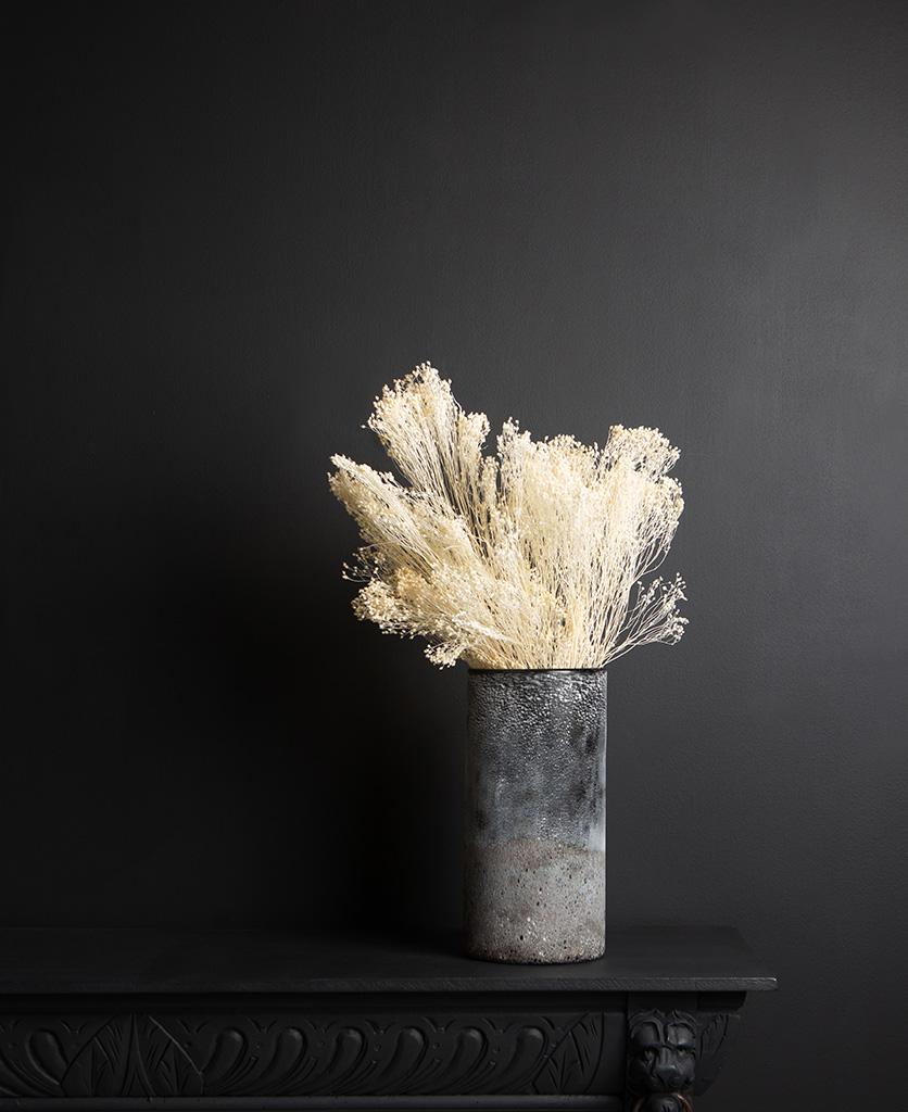 Broom bloom with rock effect vase on dark background