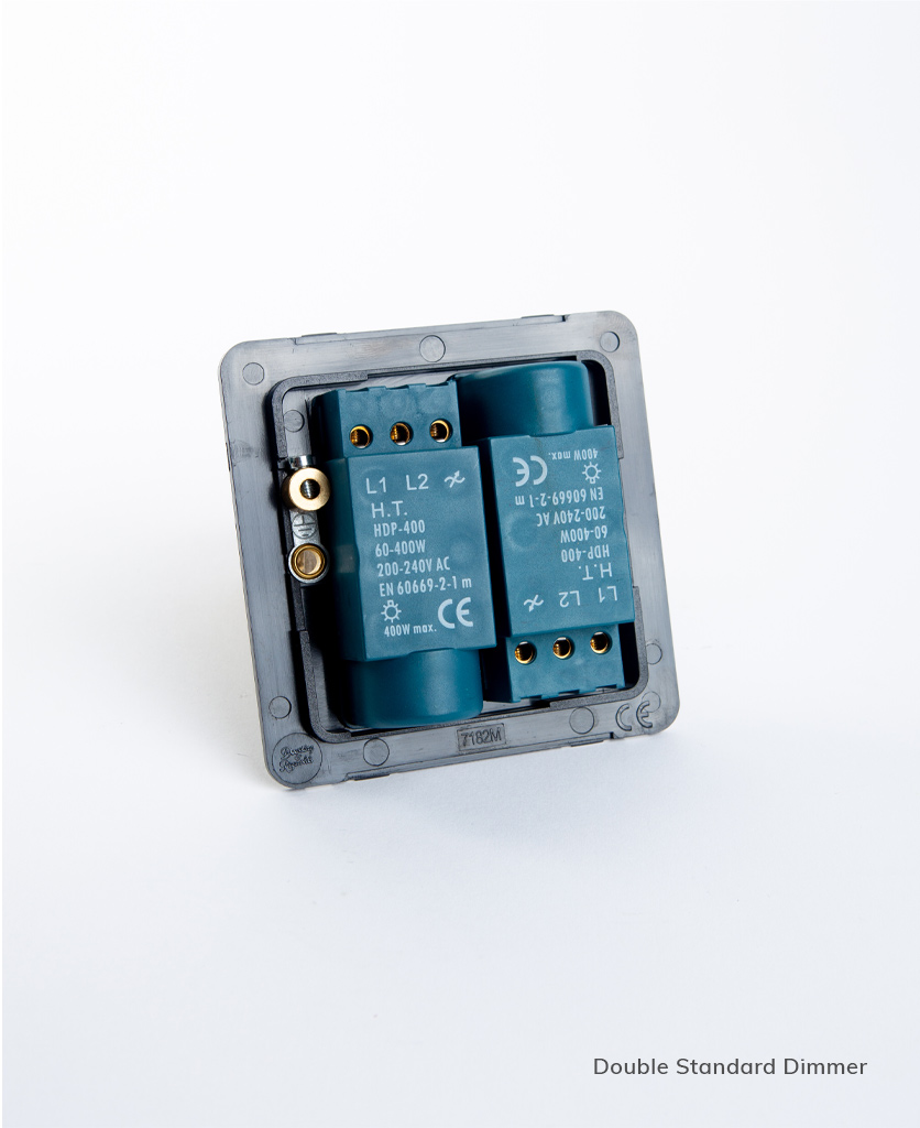 standard double dimmer backplate on white background