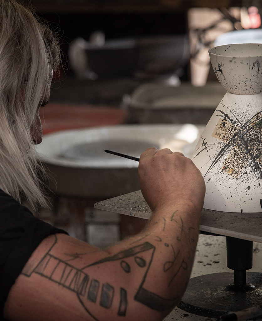 michael o hare hand painting porcelain ceiling light