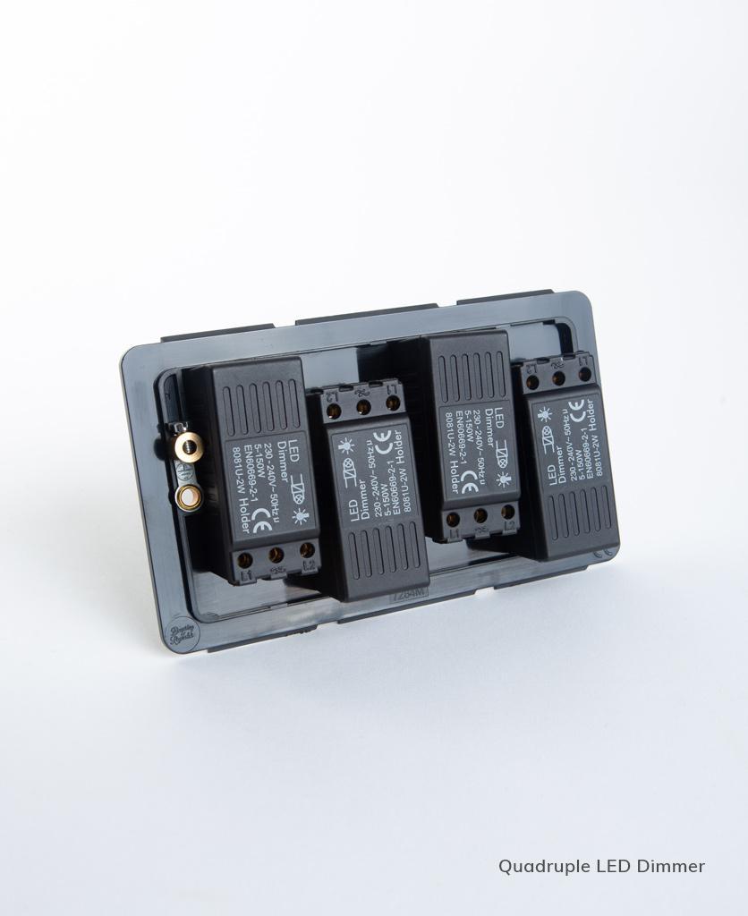 led quadruple dimmer backplate on white background