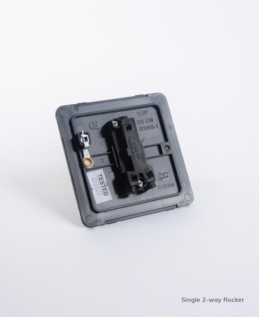 single 2-way rocker switch backplate on white background