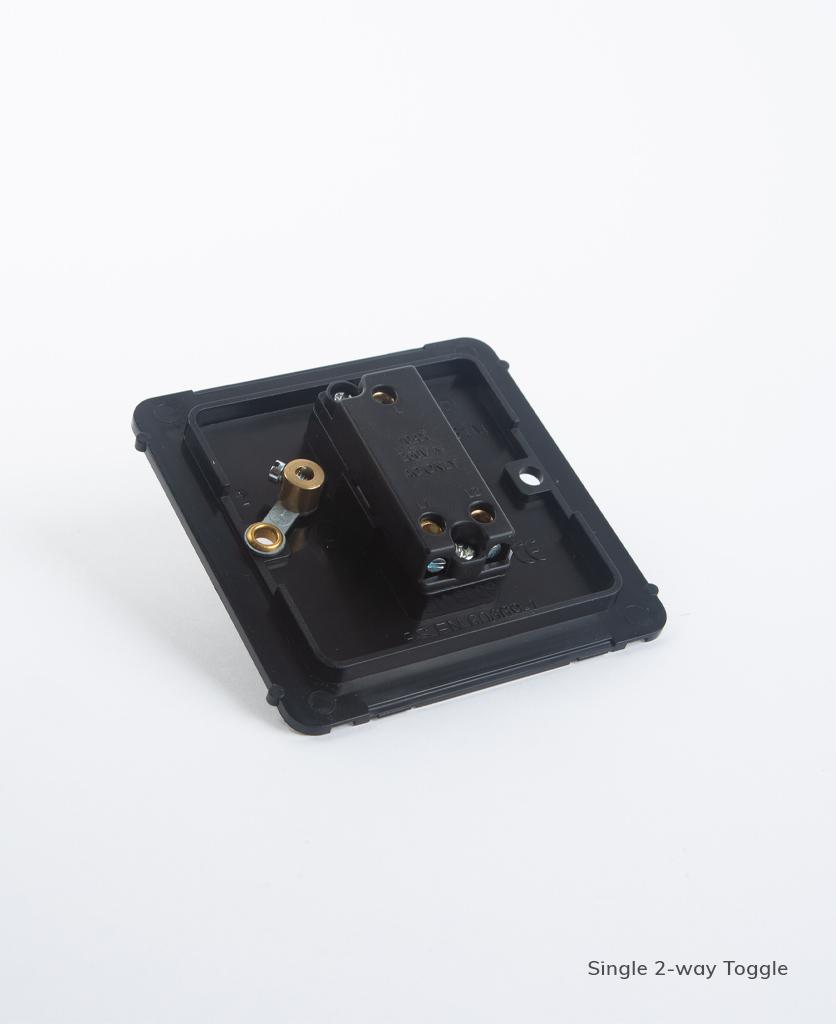 single 2-way toggle switch backplate on white background