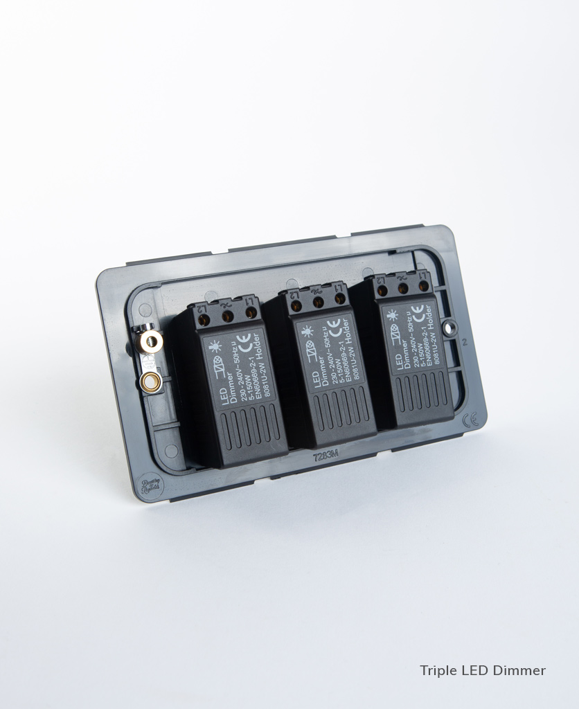 led triple dimmer backplate on white background