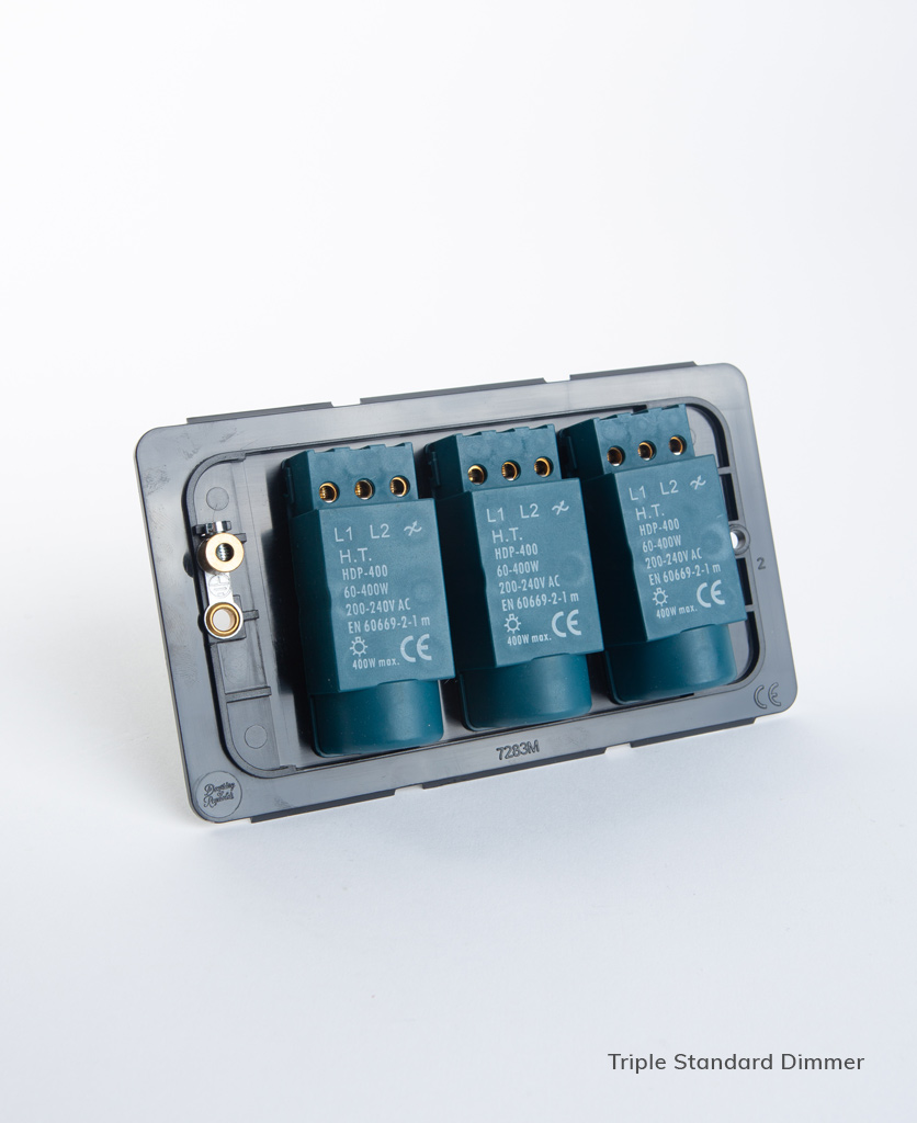 standard triple dimmer backplate on white background