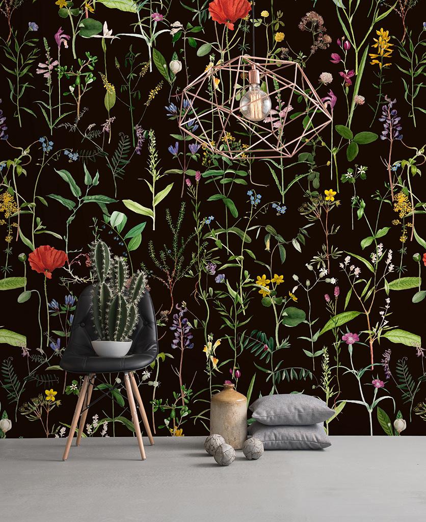 aquafleur anthracite wallpaper