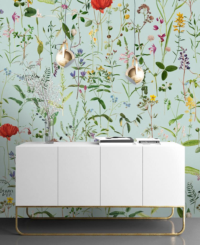 aquafleur aquamarine wallpaper