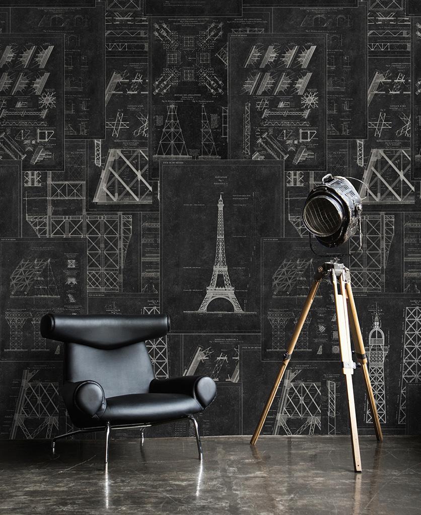 grand eiffel anthracite wallpaper