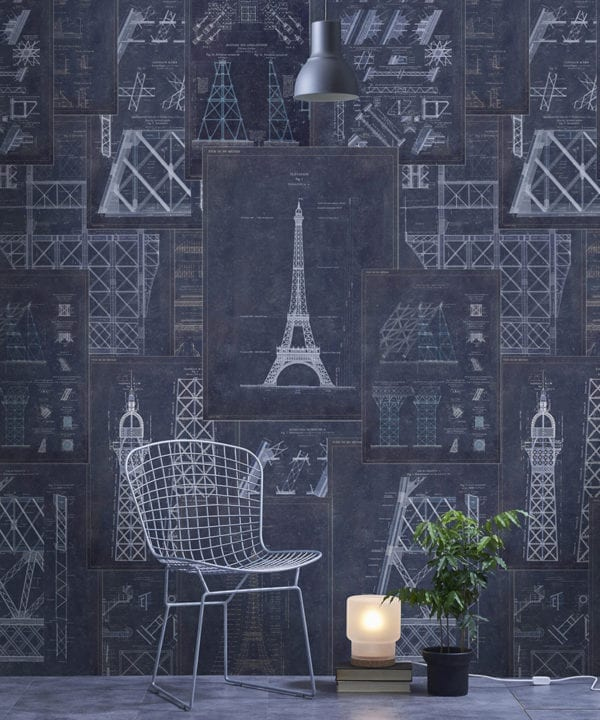 grand eiffel blue wallpaper