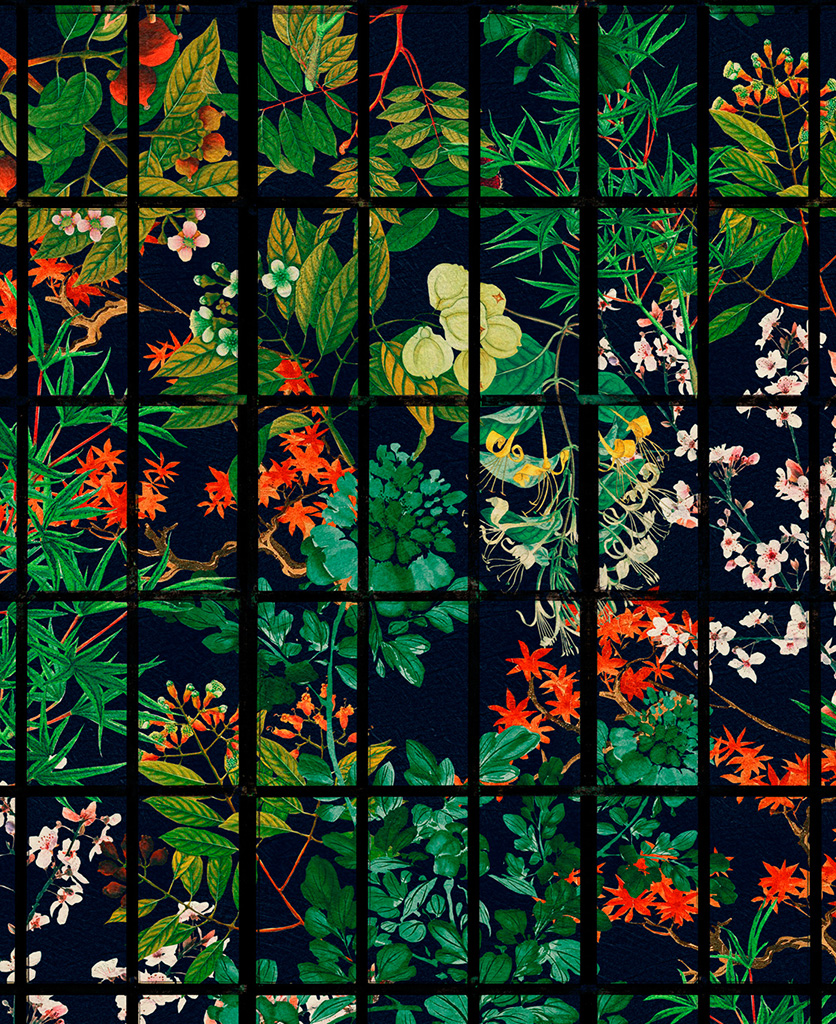 japanese garden by night wallpaper close up