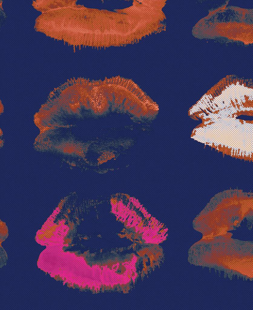 neon kiss indigo wallpaper close up