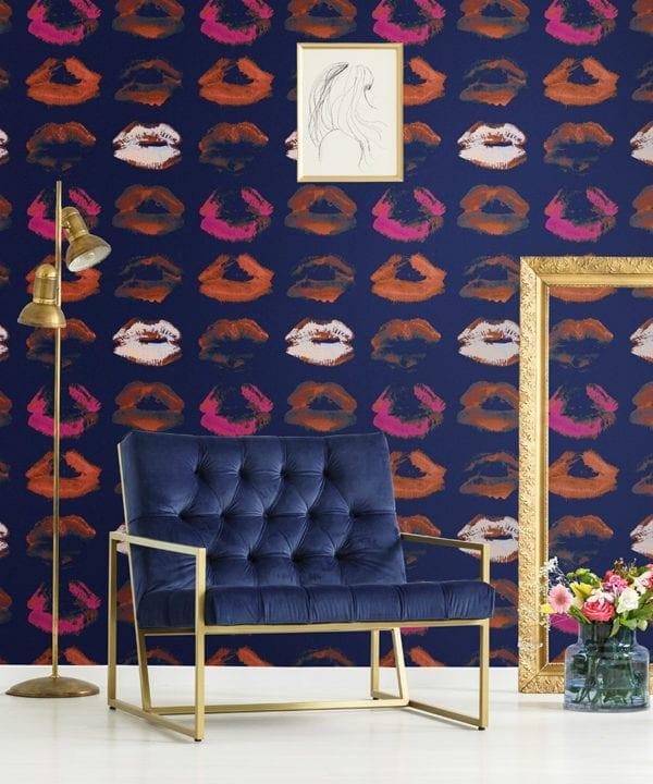 neon kiss indigo wallpaper