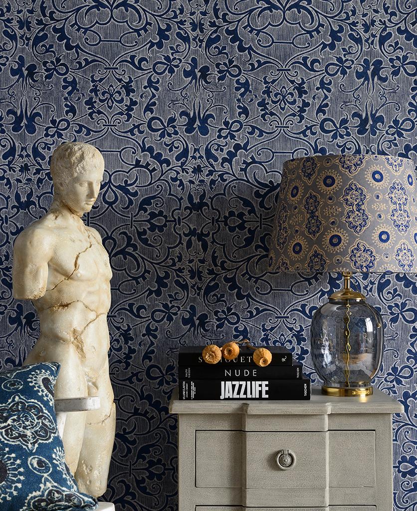 deco trellis blue wallpaper
