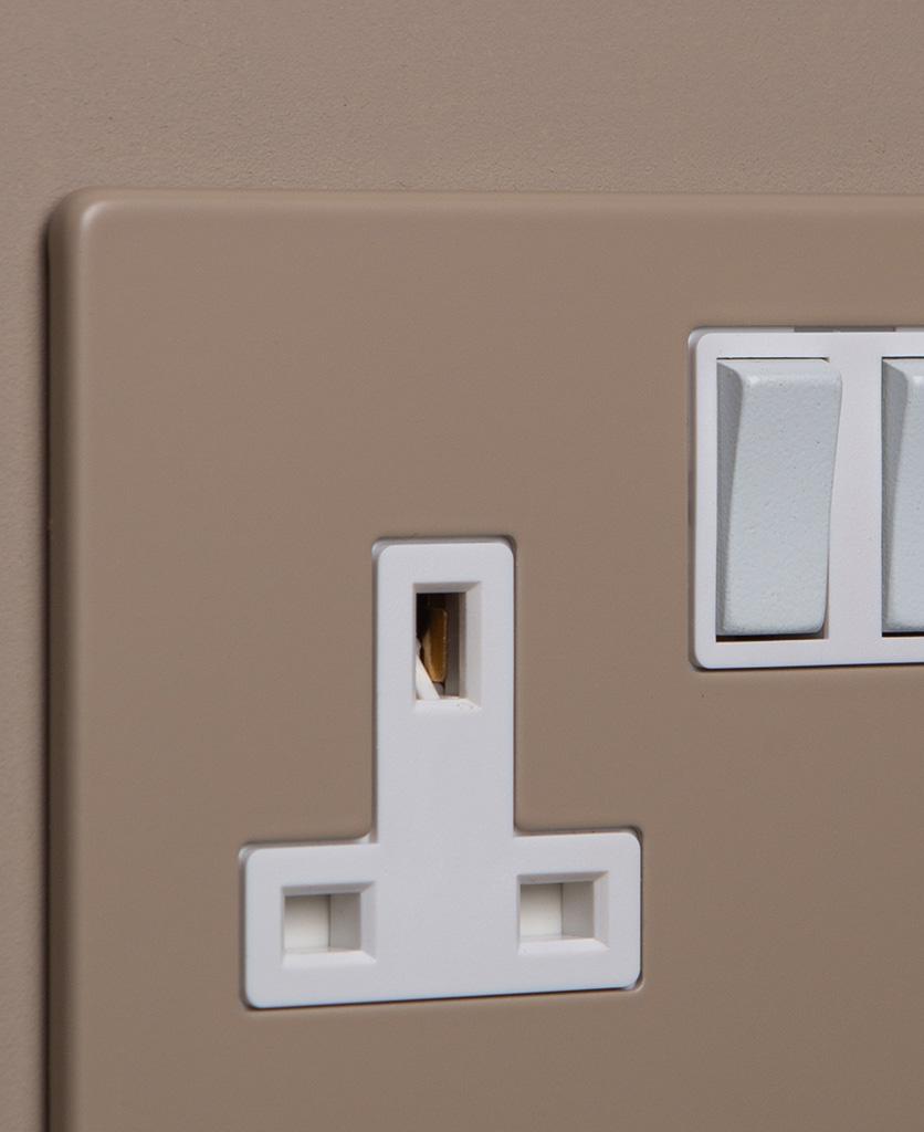 close up of caramel latte double plug socket with white insert on caramel latte background