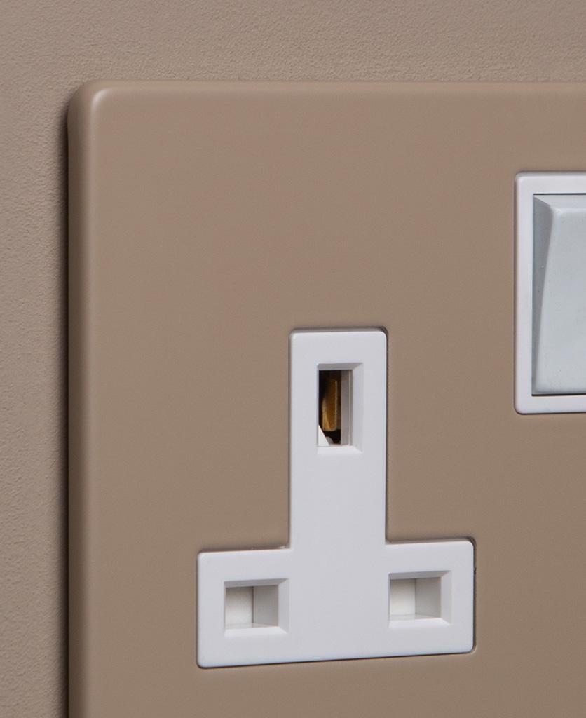 caramel latte and white single socket close up