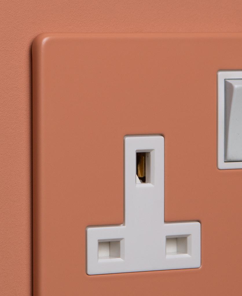 cinnamon and white single socket close up