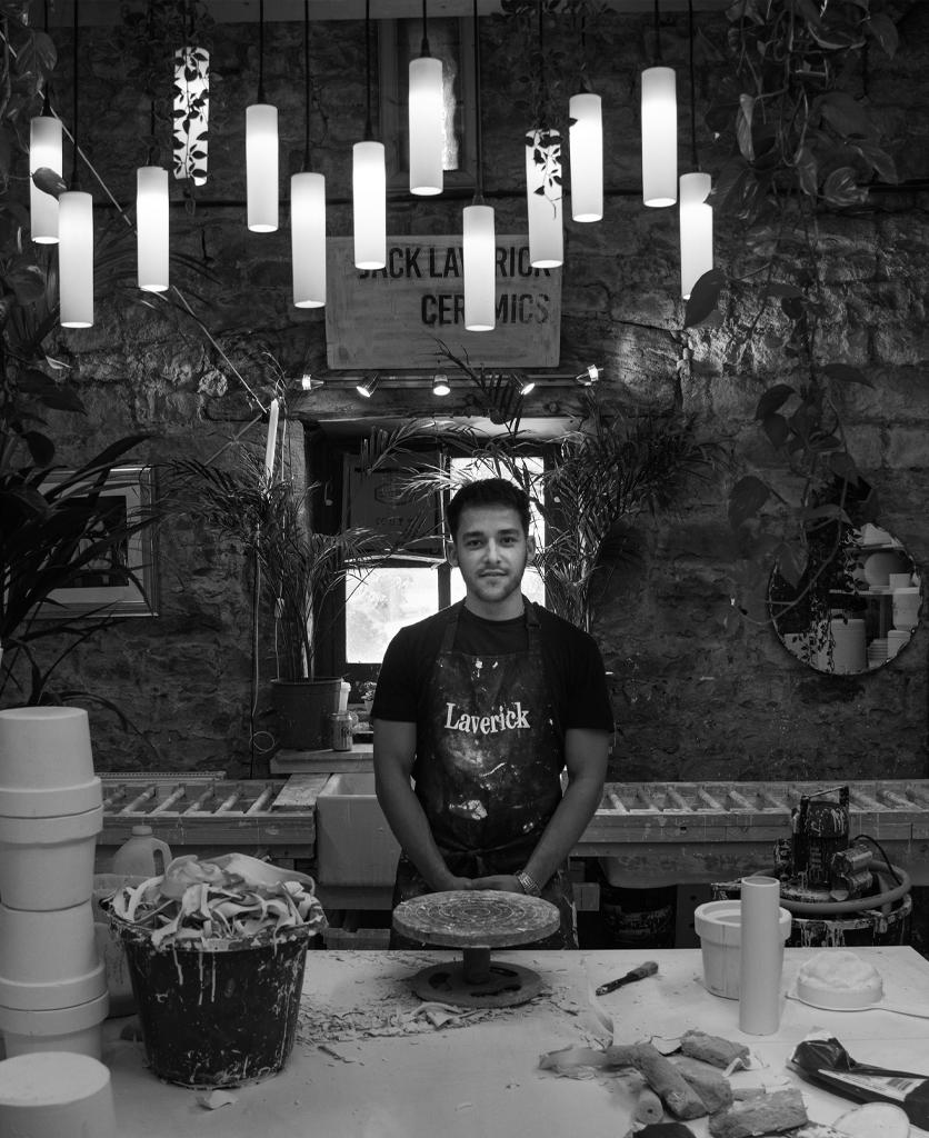 Jack Laverick in his pottery studio in Leek