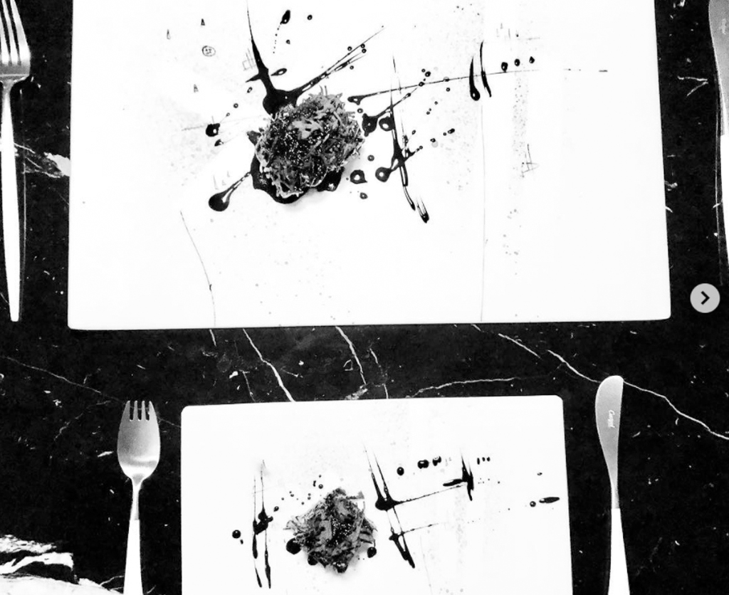 Black and white dish from Michael O' Hares restaurant The Man Behind The Curtain