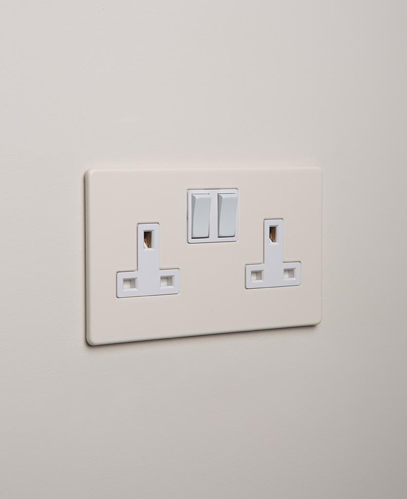 whipped cream double plug socket with white insert on white background